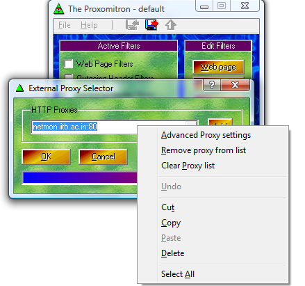 proxomitron proxy settings
